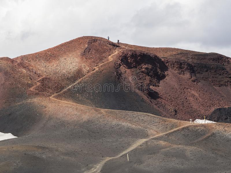 Brown lava fields and hiking trail around the volcano Eyjafjallajokull. Iceland royalty free stock image