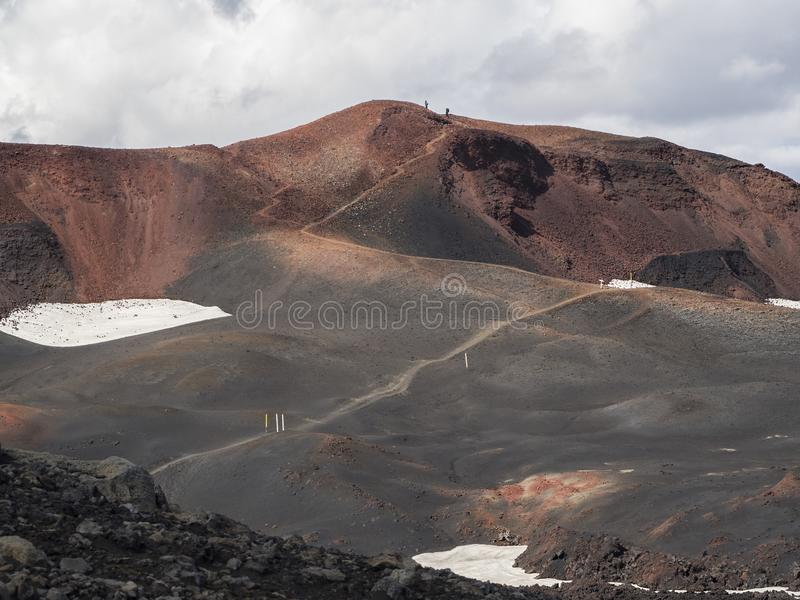 Brown lava fields and hiking trail around the volcano Eyjafjallajokull. Iceland stock image