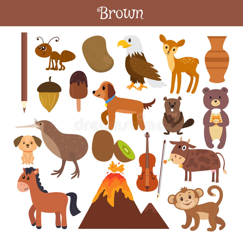 Brown. Learn the color. Education set. Illustration of primary c stock illustration