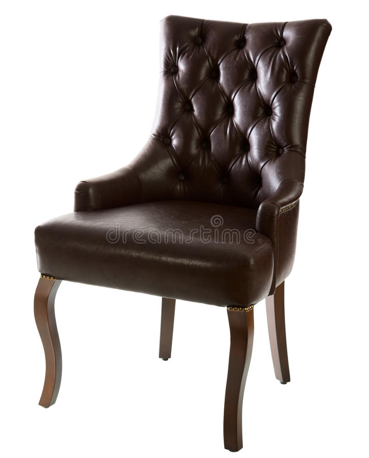 Brown leather arm-chair stock photography