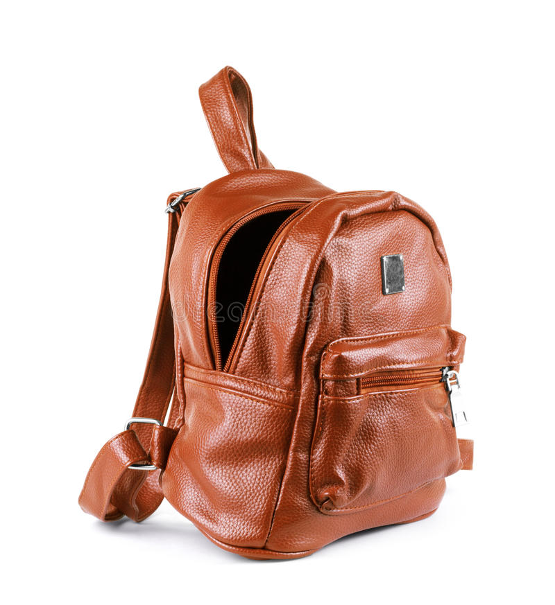 Brown leather backpack isolated on white.  royalty free stock photos