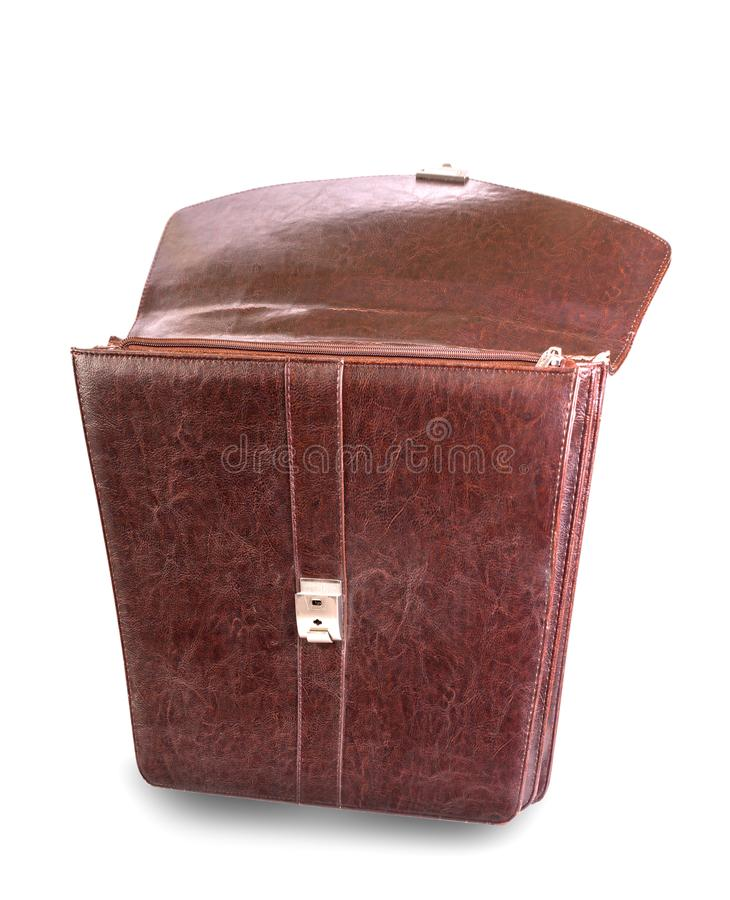 Brown leather bag for office on white background.  royalty free stock image