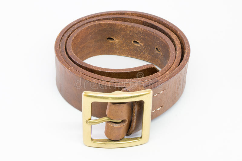 Brown leather belt for men. stock photography