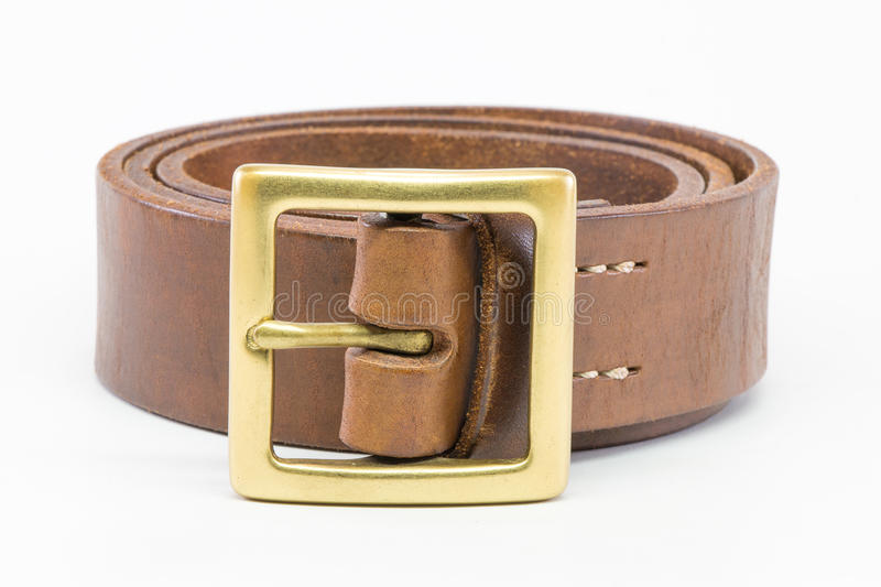 Brown leather belt for men. stock photos
