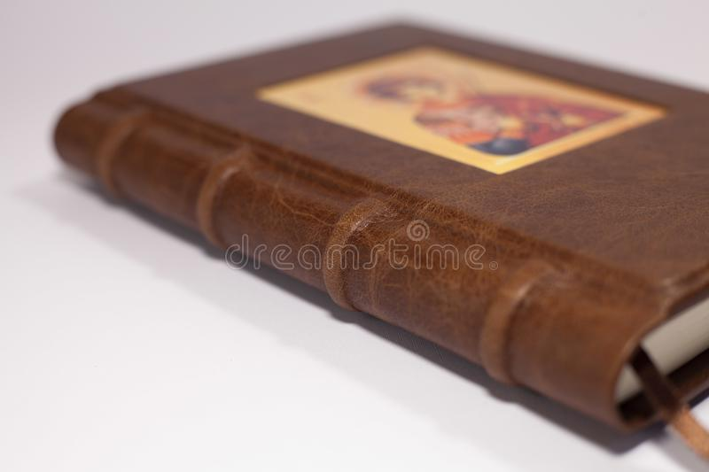 Brown leather book cover royalty free stock photo