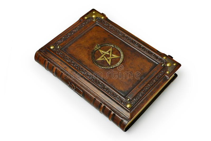 Brown leather book cover with gilded pentagram and the Ouroboros symbol, surrounded with deeply embossed frame and metal corners. Captured lay down from the stock photos