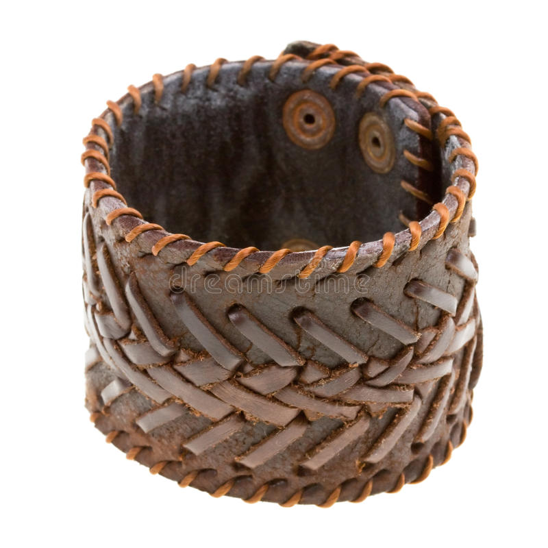 Free Brown Leather Bracelet Isolated On A White Stock Photography - 13089362