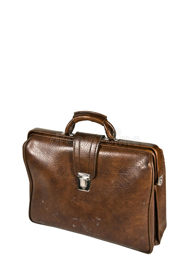 Brown leather briefcase stock photography