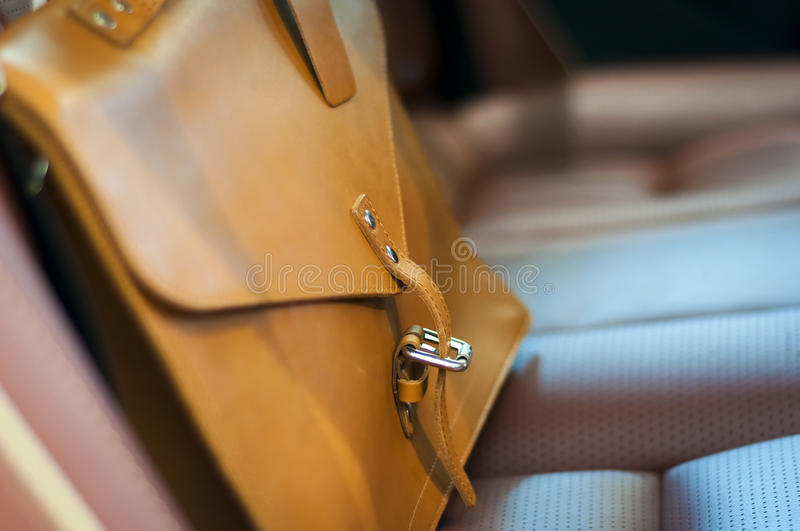 Brown leather briefcase royalty free stock photos