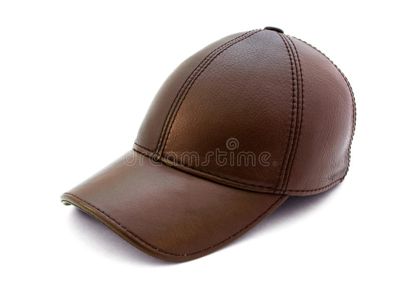 Brown leather cap royalty free stock photo