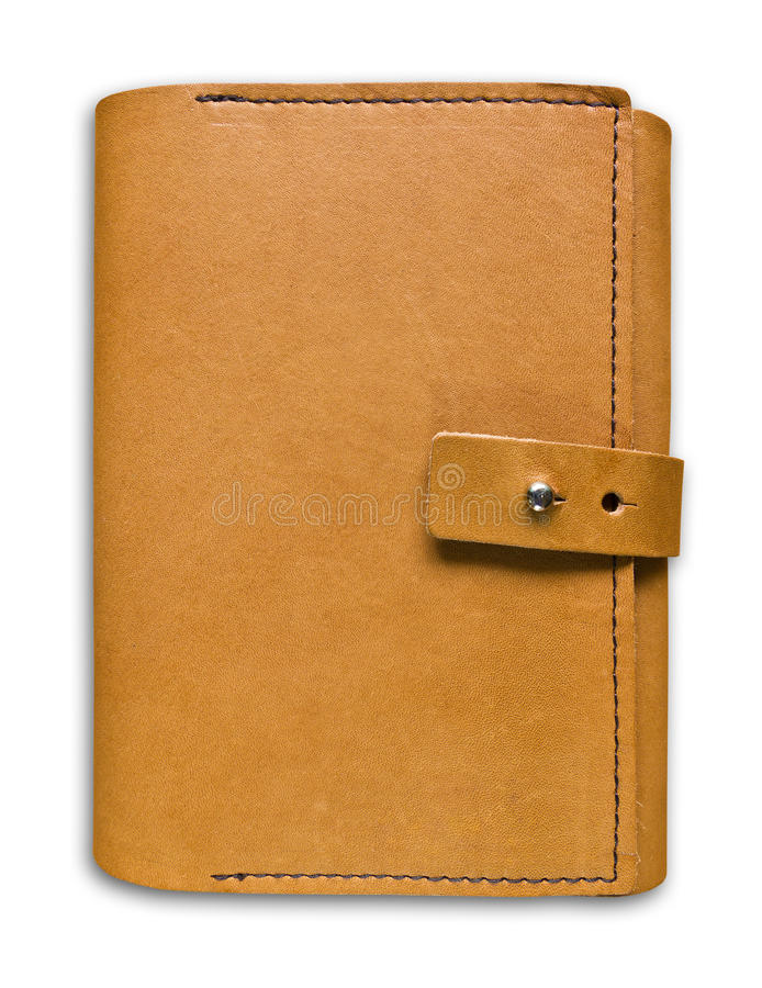 Brown leather case notebook isolated stock photography