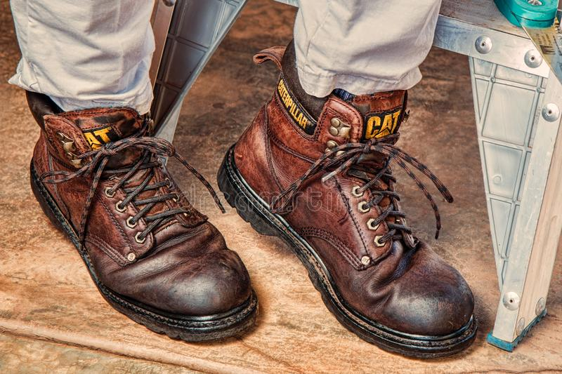 Brown Leather Caterpillar Safety Boots royalty free stock photos