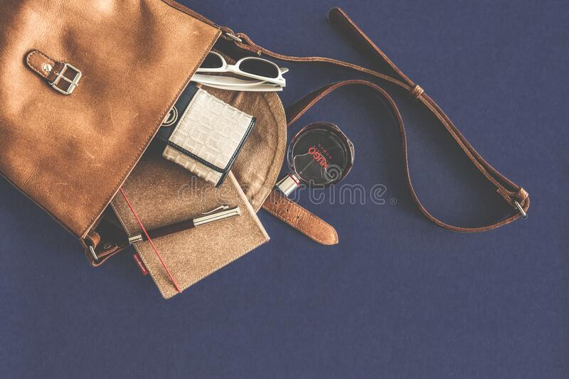 Brown Leather Crossbody Bag With White Framed Sunglasses Free Public Domain Cc0 Image