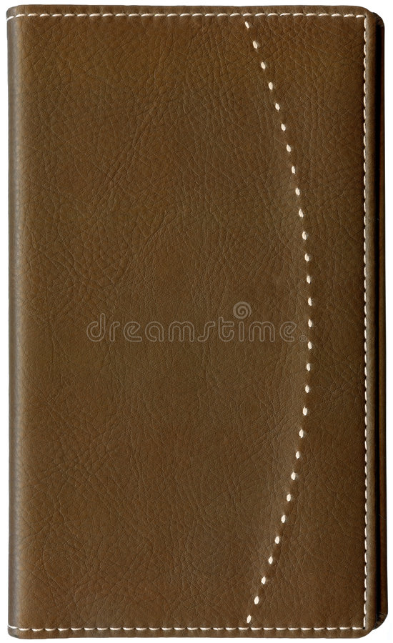 Brown leather memo book isolated on white stock photography