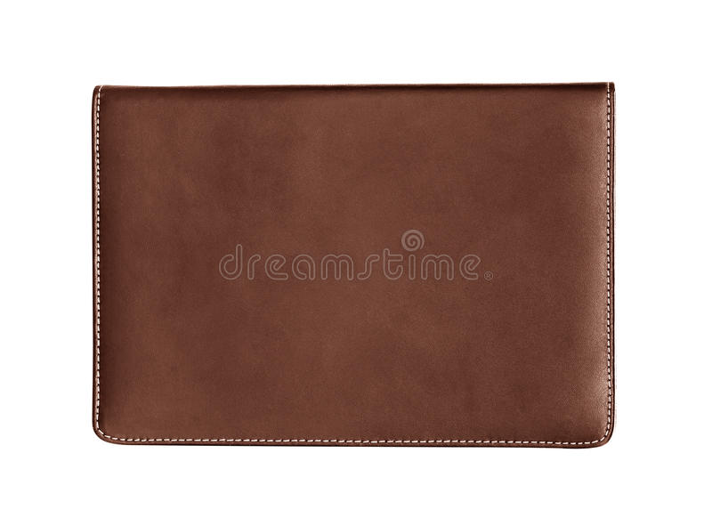 Brown leather notebook isolated on white background stock images