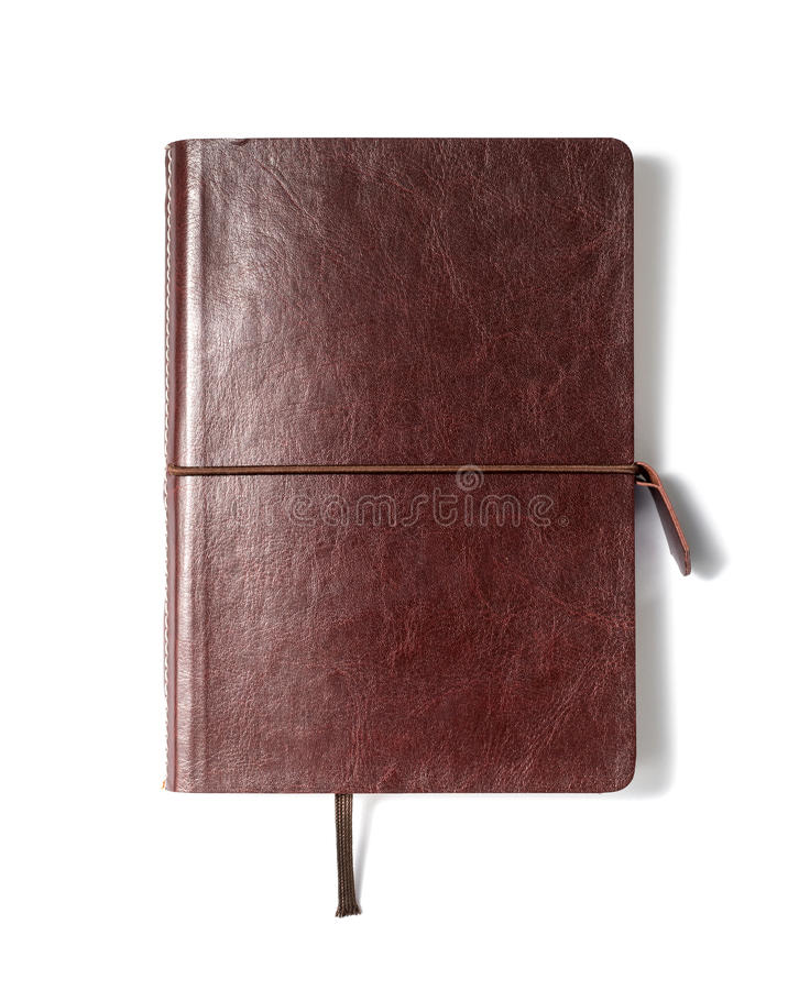 Brown leather notebook royalty free stock photography