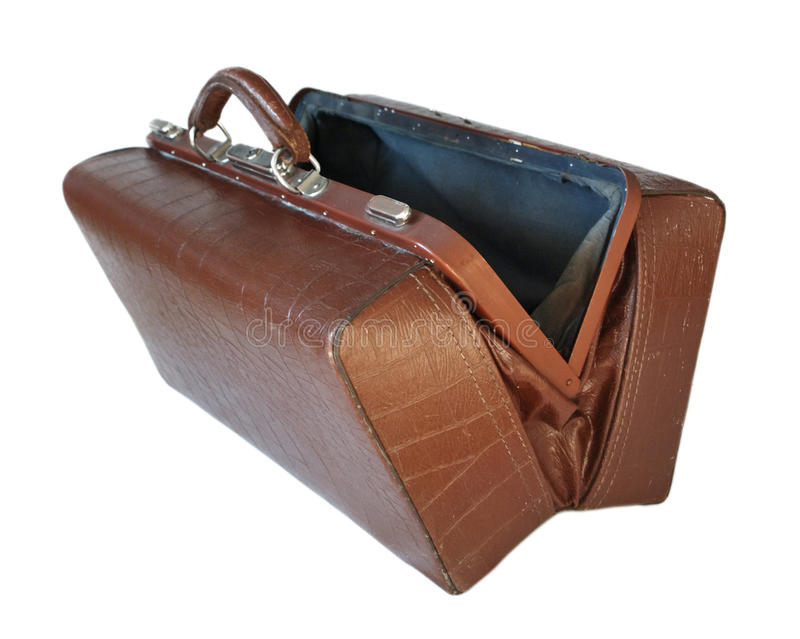 Brown leather old luggage bag open. Isolated on white royalty free stock photo