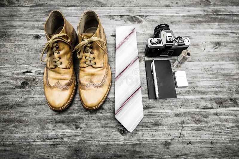 Brown Leather Oxford Wingtip Shoes Beside White And Red Necktie Free Public Domain Cc0 Image