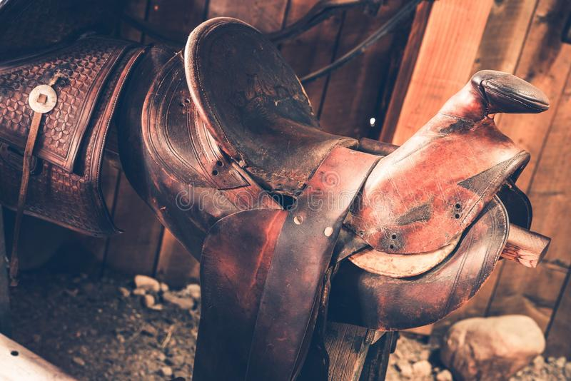 Brown Leather Saddle stock photos
