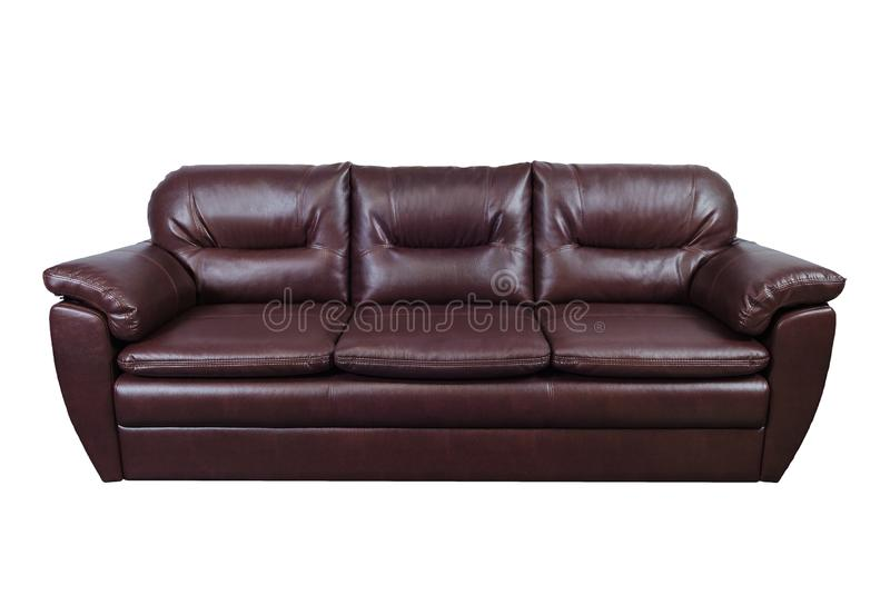 Brown leather sofa isolated on white with clipping path.  royalty free stock photos