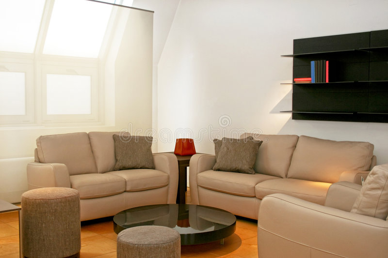 Brown leather sofas. Living room with two brown leather sofas stock image