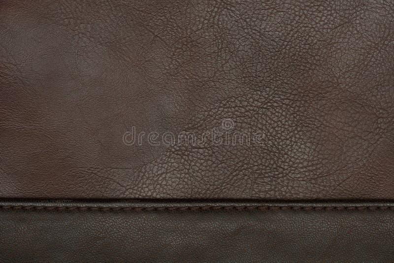 Brown leather texture. Closeup detail stock photo