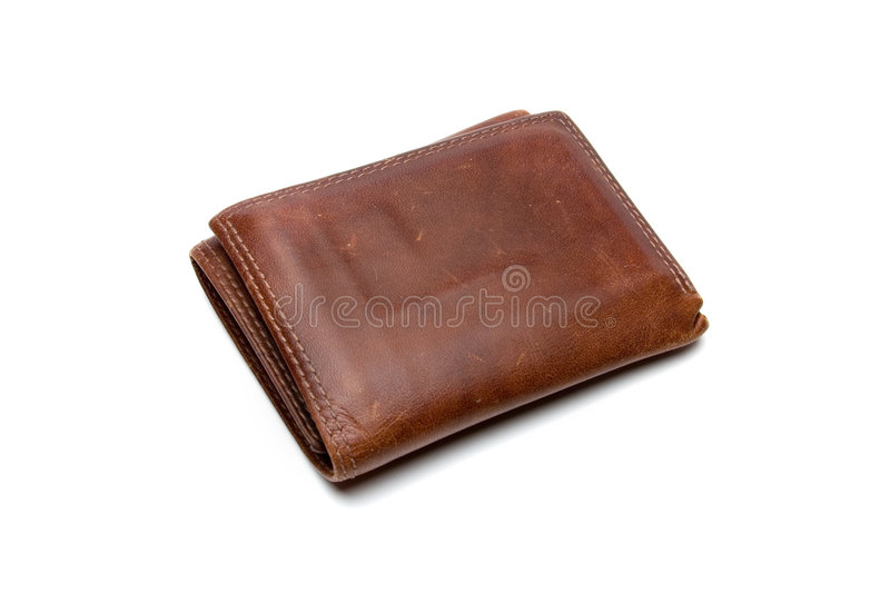 Brown Leather Wallet. Well worn brown leather billfold isolated on white stock images
