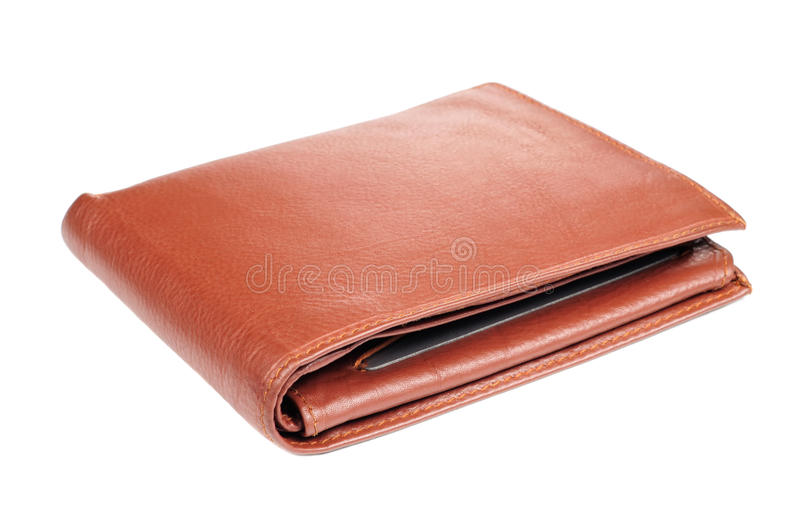 Brown Leather Wallet. Brown A brown leather wallet isolated on a white background royalty free stock photography