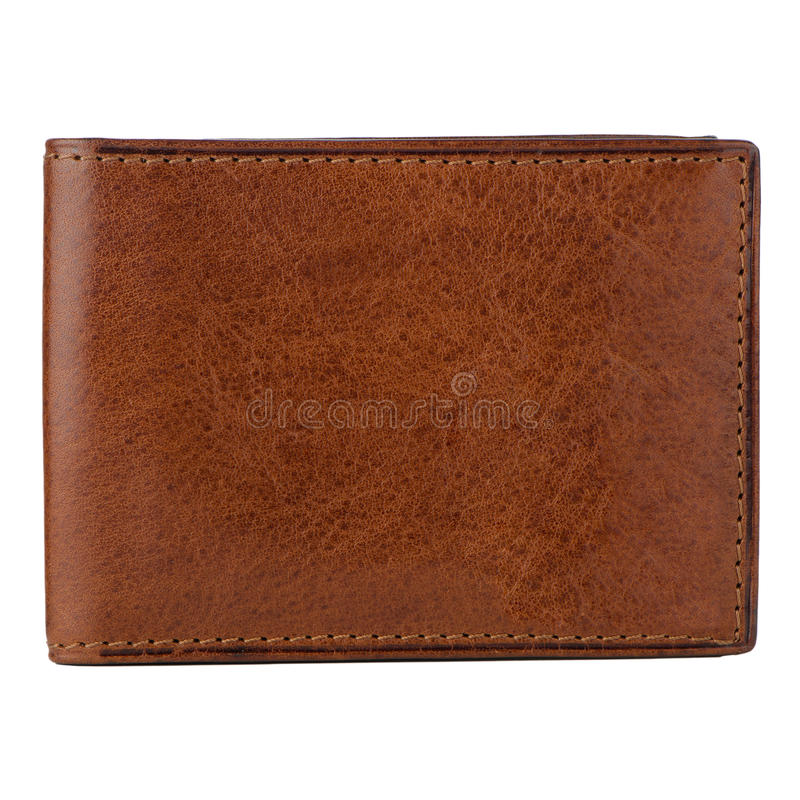 Brown leather wallet. Isolated on white background royalty free stock image
