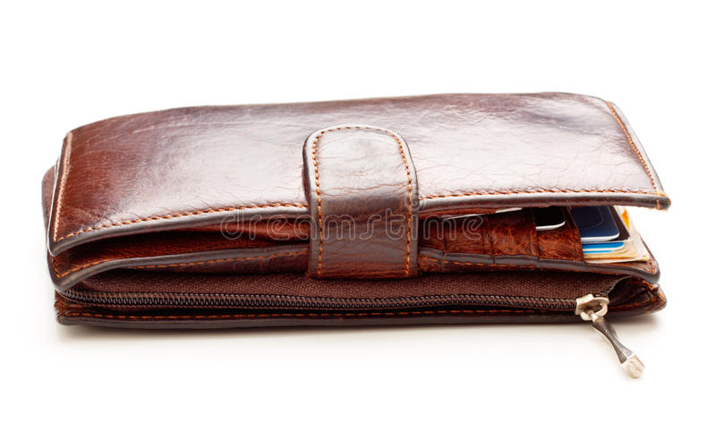 Brown Leather Wallet. Brown leather billfold isolated on white background royalty free stock images