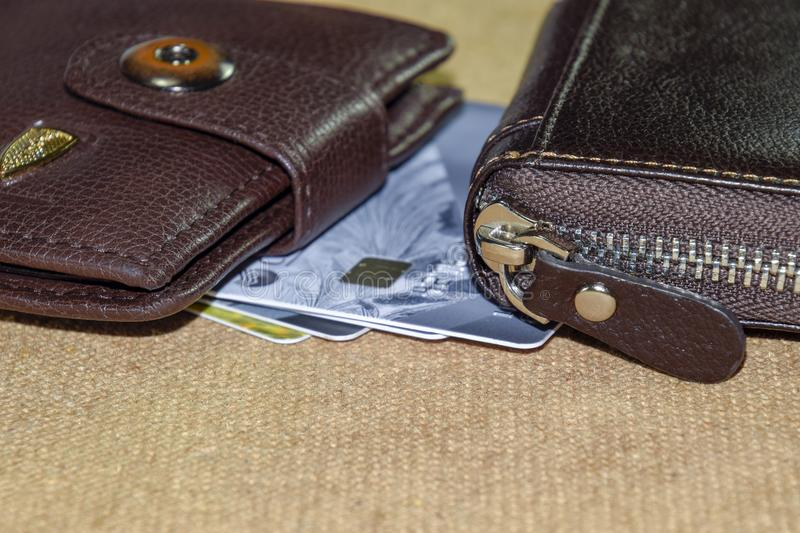 Brown leather wallet with credit and discount cards royalty free stock photography