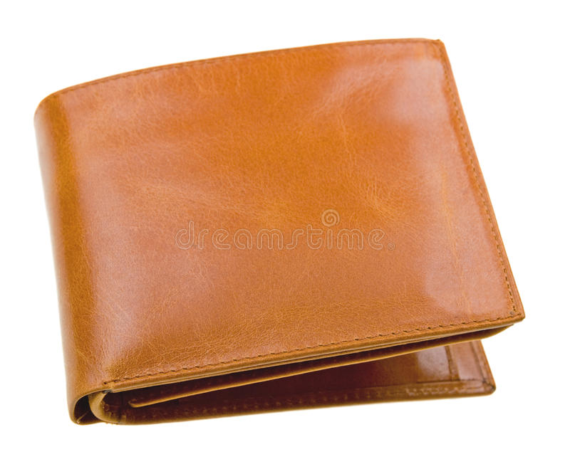 Brown leather wallet isolated on white. Background royalty free stock photo