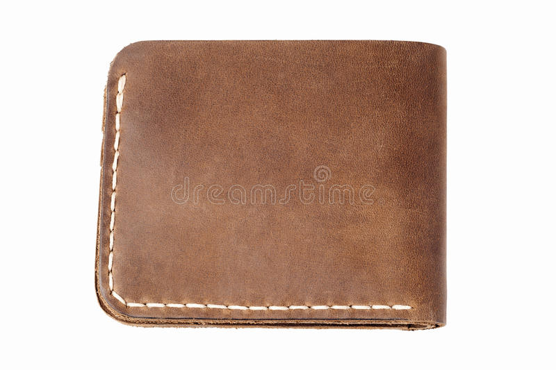 Brown leather wallet isolated on white. Background stock photography