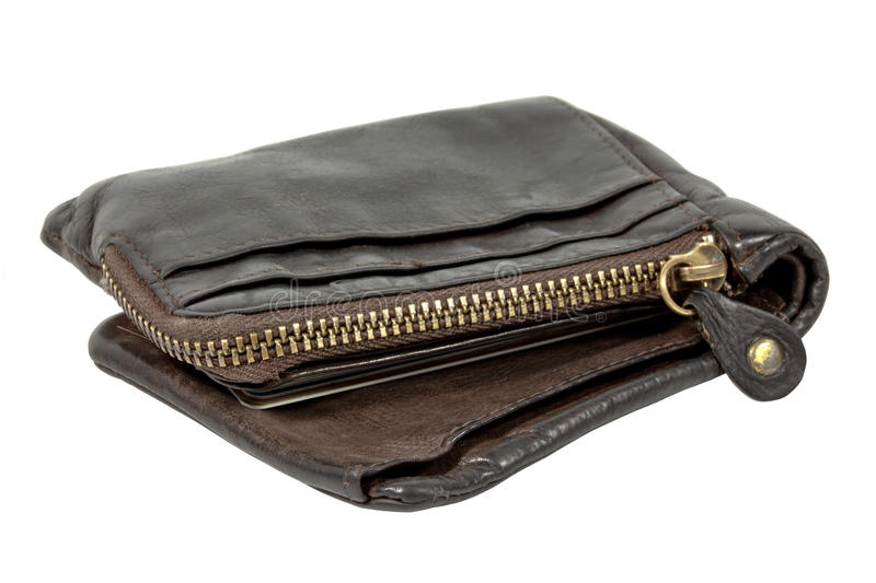 Brown Leather Wallet with Large Brass Zip stock images
