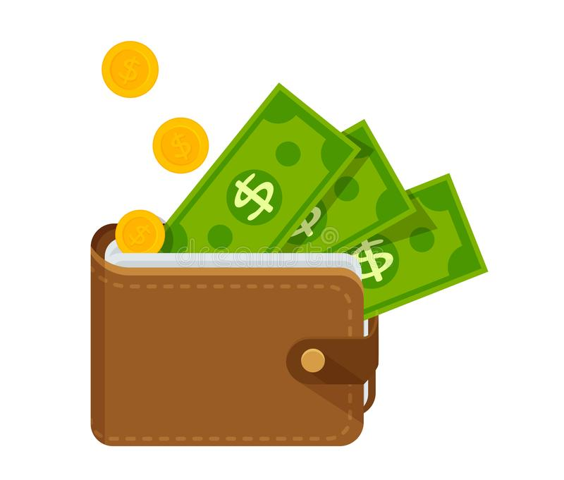Brown leather wallet with lots of money. Vector Illustration vector illustration