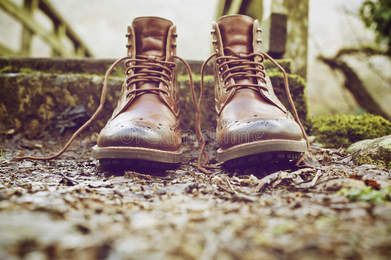 Brown Leather Work Boots On Ground Free Public Domain Cc0 Image