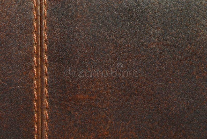 Brown-Leder mit Naht stockfoto
