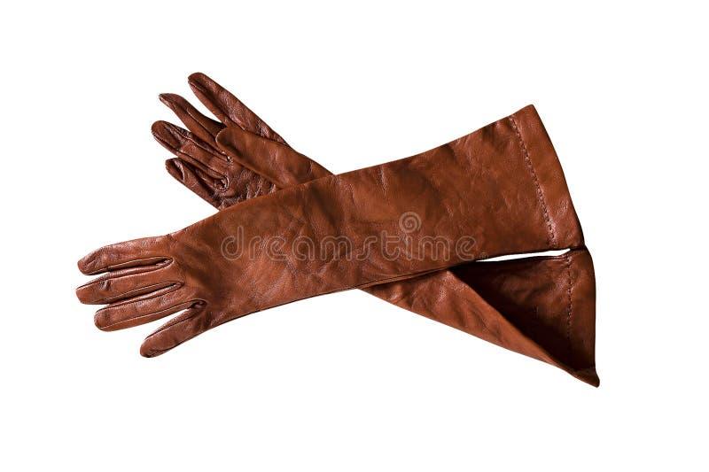 Brown-lederne Handschuhe lizenzfreie stockfotos