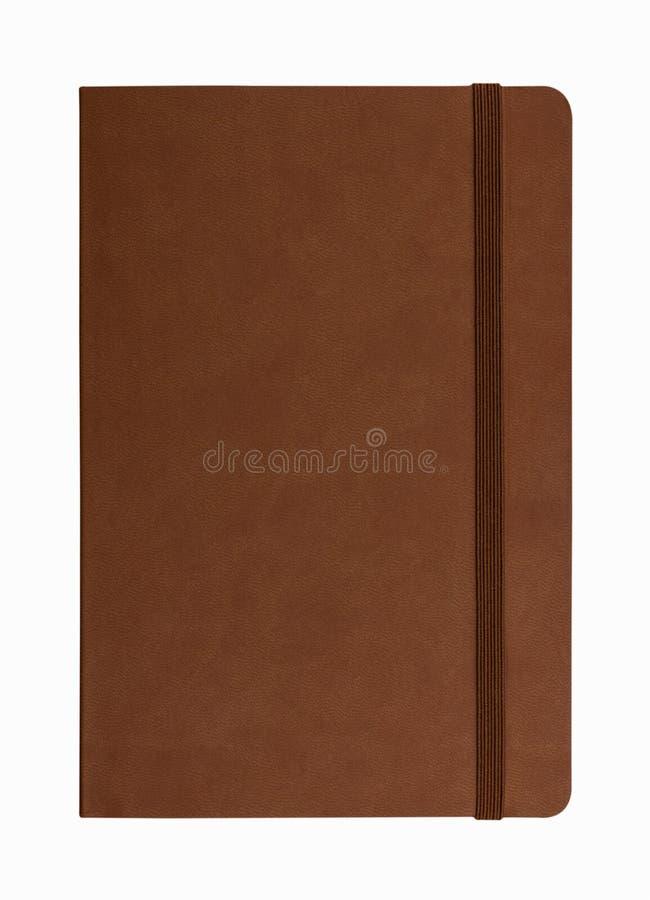 Brown-Ledernotizbuch lokalisiert stockbilder