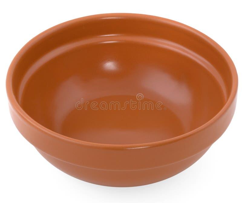 Brown-Lehmplatte lokalisiert auf einem weißen Hintergrund/keramischen Tellern stockbild