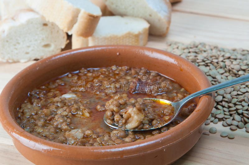 Brown Lentil Stew In Bowl With Vegetable Stock Photos
