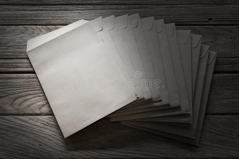 Brown Letter Envelop on wooden table.  stock images