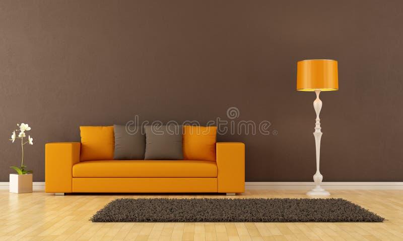 Brown living room vector illustration