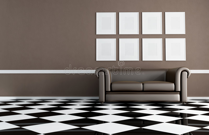 Brown living room with classic sofa royalty free stock photos