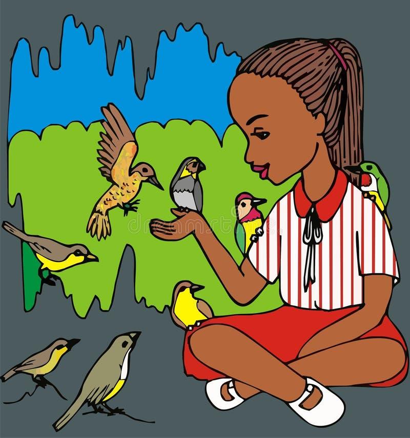 Brown-Mädchen und Vögel lizenzfreie abbildung