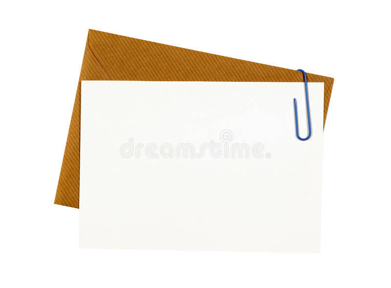 Brown manila envelope with blank note card or business invitation. Brown manila envelope with blank note card royalty free stock photography
