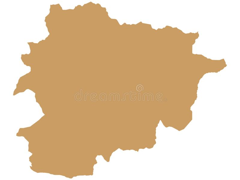 Brown Map of European Country of Andorra. Vector Illustration of the Brown Map of European Country of Andorra royalty free illustration
