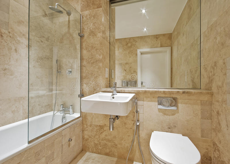 Brown Marble Bathroom Stock Photo Image Of Line Indoor