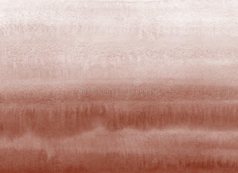 Brown, marrón, textura horizontal de la pendiente de la acuarela del café imagenes de archivo