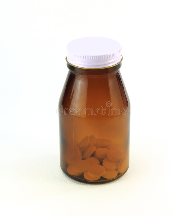 Brown medicine bottle royalty free stock photography